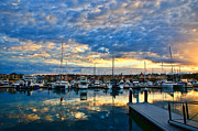 Harbour Pyrography Prints - Mindarie Sunrise Print by Imagevixen Photography