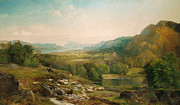 Cloudy Painting Metal Prints - Minding the Flock Metal Print by Thomas Moran