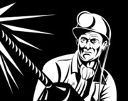 Woodcut Posters - Miner Portrait Front  Poster by Aloysius Patrimonio