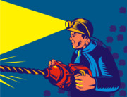 Woodcut Posters - Miner With Jack Drill Poster by Aloysius Patrimonio