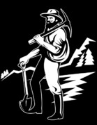 Pick Axe Prints - Miner With Pick Axe And Shovel  Print by Aloysius Patrimonio