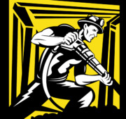 Yellow Background Posters - Miner With Pneumatic Drill  Poster by Aloysius Patrimonio