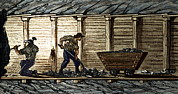 Simonin Prints - Miners In A Timbered Tunnel Print by Sheila Terry