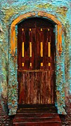 Robert Handler Prints - Mini Aqua Mexican Doorway Print by Robert Handler