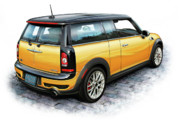 Mini Cooper Digital Art Posters - Mini Cooper Clubman Yellow Poster by David Kyte