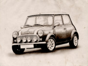 Austin Tapestries Textiles - Mini Cooper Sketch by Michael Tompsett