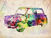 Retro Digital Art Posters - MIni Cooper Urban Art Poster by Michael Tompsett