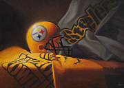 Pittsburgh Steelers Paintings - Mini Helmet Commemorative Edition by Joe Winkler