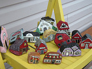 Red School House Mixed Media Prints - Mini Houses on a Chair Print by Barbara Griffin