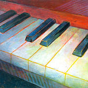 Music Art Painting Originals - Mini Keyboard by Susanne Clark