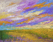 Prairies Painting Posters - Mini Landscape V Poster by Marion Rose
