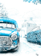 Austin Mixed Media Prints - Mini on drive Print by Mark Harvey
