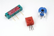 Pcb Prints - Mini Pcb Potentiometers Print by Trevor Clifford Photography