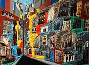 City Scape Paintings - Mini Perspective by Robert Handler