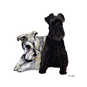 Puppies Digital Art Posters - Mini Schnauzer Buddies Poster by Kim Souza