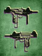 Pop Posters - Mini Uzi Sub Machine Gun on Green Poster by Michael Tompsett