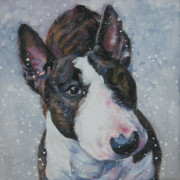 Bull Terrier Paintings - Miniature Bull Terrier in snow by Lee Ann Shepard