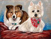 Pet Portraits Pastels - Miniature Collie and West Highland Terrier by Patricia L Davidson