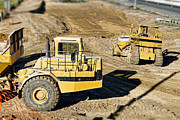 Dozer Framed Prints - Miniature Construction Site Framed Print by Olivier Le Queinec