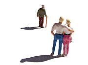 Loneliness Internal Prints - Miniature figurines couple watching elderly man Print by Bernard Jaubert