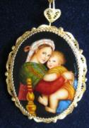 Child Jewelry - miniature painting-HAND PAINTED PENDANT AND BROOCH  MADONNA DELLA SEGGIOLA RAFFAELLO by Evelina Pastilati