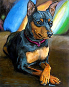 Miniature Paintings - Miniature Pinscher Formal by Dottie Dracos