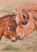 Colt Paintings - Miniature Ponies Mare and Foal by Abbie Shores