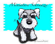 Catia Mixed Media Framed Prints - Miniature Schnauzer Framed Print by Catia Cho