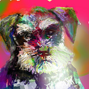 Bass Digital Art - Miniature Schnauzer by James Thomas
