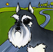 Dog Breeds Paintings - Miniature Schnauzer by Leanne Wilkes