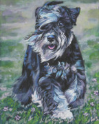 Miniature Paintings - Miniature Schnauzer by Lee Ann Shepard