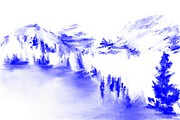 Minimal Landscape Prints - Minimal landscape Monochrome in blue 111511 Print by David Lane