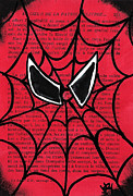 Spider Drawings Framed Prints - Minimal Spiderman Framed Print by Jera Sky
