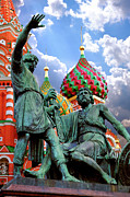 Domes Prints - Minin and Poznarsky Monument in Moscow Print by Oleksiy Maksymenko
