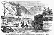 Log Cabin Framed Prints - Mining Camp, 1860 Framed Print by Granger