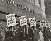 Candid Portraits Photo Prints - Ministers Picket F.w. Woolworth Store Print by Everett