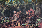 Trappers Posters - Mink Trapping, 1862 Poster by Photo Researchers