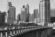 Minneapolis Skyline Prints - Minneapolis Black and White Print by Heidi Hermes