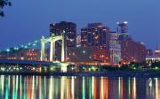 Mississippi River Photos - Minneapolis Skyline at Night by Heidi Hermes