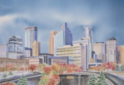 Skyscrapers. Painting Posters - Minneapolis Skyline Poster by Deborah Ronglien