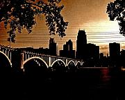 Minneapolis Framed Prints - Minneapolis Skyline in Copper Framed Print by Tom Reynen