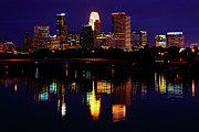 Skyline Photography Framed Prints - Minneapolis Twilight Framed Print by Rick Berk