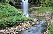 Riverbed Prints - Minnehaha Falls Downstream Print by Kristin Elmquist