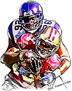 Vikings Digital Art Framed Prints - Minnesota Vikings Antoine Winfield - San Francisco 49ers Ted Ginn Jr Framed Print by Jack Kurzenknabe