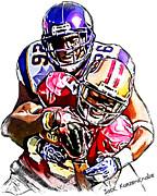 Minnesota Vikings Antoine Winfield  San Francisco 49ers Ted Ginn Jr  Print by Jack Kurzenknabe