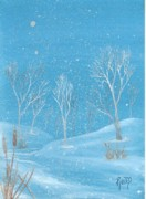 Robert Meszaros Painting Posters - Minnesota winter... no. two Poster by Robert Meszaros