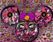 Ribbon Mixed Media Posters - Minnie Mouse In Love Poster by Pepita Selles