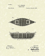 Canoe Drawings Posters - Minnow Boat 1887 Patent Art Poster by Prior Art Design