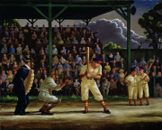 Catcher Painting Prints - Minor League Print by Clyde Singer