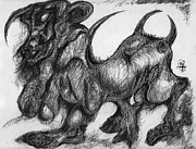Fantasy Creatures Drawings Prints - Minotaur Print by Ion vincent DAnu